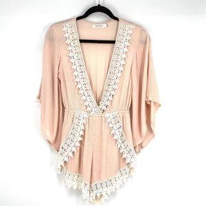 Hello Molly blush pink crochet romper shorts 8